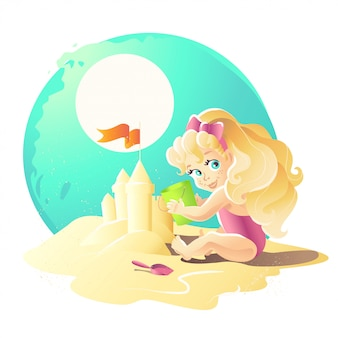 夏の漫画イラスト。砂の城で遊んで砂の上に座っている若い赤ちゃん女の子キャラクター。バケット、シャベル。子供のイラスト、本の表紙、広告。バナー、プラカード、プリント。