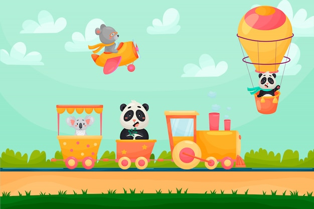 Summer cartoon landscape with animals riding raiway train. animals flying on air balloon and plane.