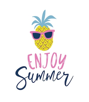 Summer cartoon style pineapple in sunglasses label.