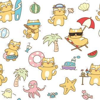 Summer cat seamless pattern background