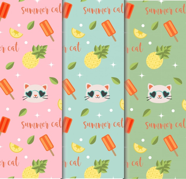 Summer cat seamless pattern