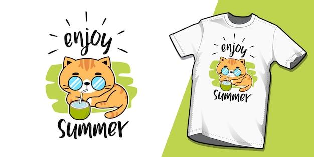 夏猫tシャツテンプレートデザイン