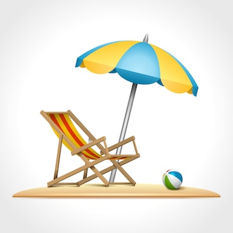 Summer chaise longue chair and umbrella on beach vector illustration.