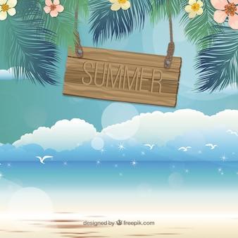 ビーチで夏の黒板
