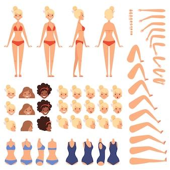 Летний персонаж. конструктор женского пола в купальнике на пляже в различных позах и эмоциях.