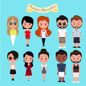 Summer characters collection Free Vector