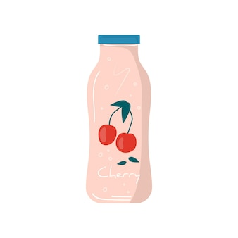 과일과 열매가 있는 병 아이콘에 있는 여름 체리 주스. 비건 과일과 건강한 디톡스 칵테일. 야채 믹스, 청량 음료 및 주스 바용 상쾌한 비타민 아이스 셰이크. 벡터 유행