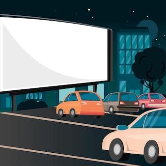 Summer cinema with cars Premium Vector