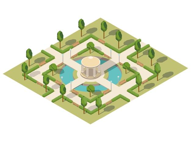 Летний городской изометрический парк с прудом
