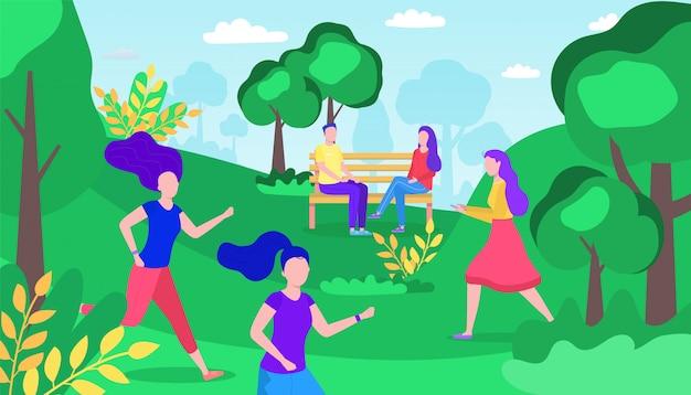 여름 도시 공원 휴식, 여자, 여성 캐릭터 사람들이 휴식, 날짜 평면 벡터 일러스트 레이 션에 사랑스러운 커플. 야외 국가 예비.