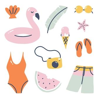 여름 클립 아트 일러스트입니다. 여름 해변 휴가 및 레크리에이션 시간. 벡터 만화 예술
