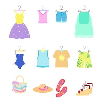 Изолированный комплект летней одежды. женская и мужская одежда и аксессуары. векторная иллюстрация.