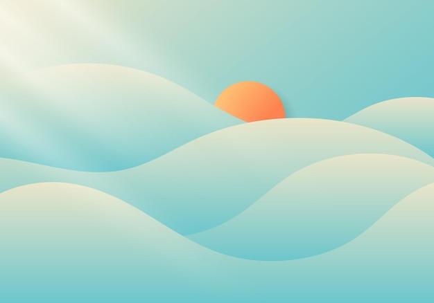 青い空の背景の自然の最小限の概念に日光と夏曇りと霧。ベクトルイラスト