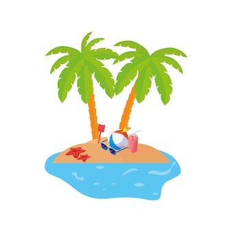 Summer coastline scene with palms and balloon toy