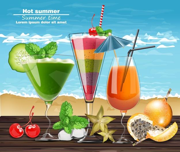 Летние коктейльные напитки реалистичные баннеры