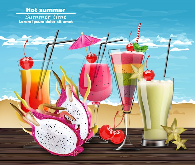 Summer cocktail drinks realistic banner