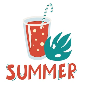Summer cocktail with tube and a palm leaf. lettering the word summer. cute summer poster. cocktail icon. cocktail glass with drink icons for menu, web and graphic design. cartoon flat illustration