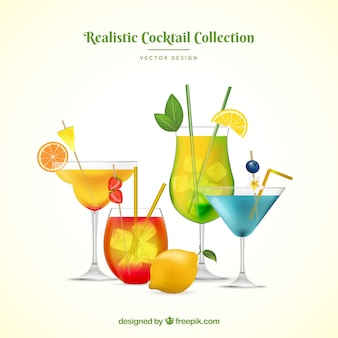 Summer cocktails collection in realistic style