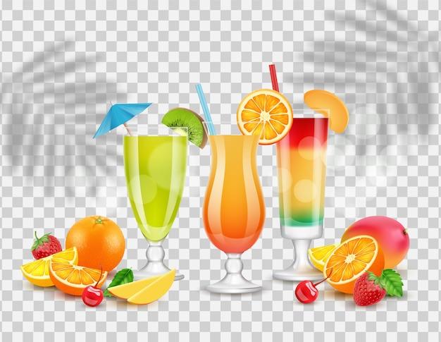 夏のカクテル、フルーツ、ベリー。