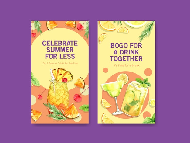 Summer cocktails for instagram stories templates