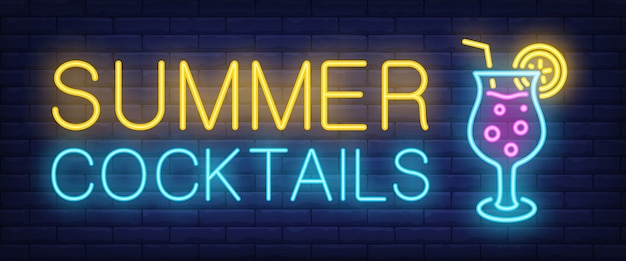 Summer cocktails neon sign. glowing lettering with cocktail