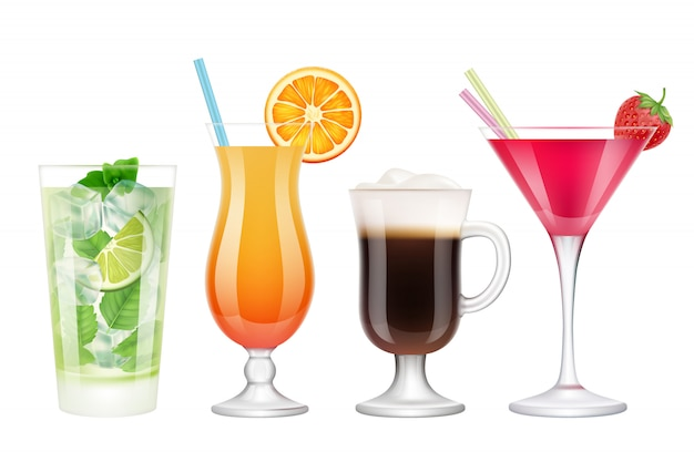 Summer cocktails realistic. alcoholic drinks in glasses with ice tropical fruits irish coffee vodka margarita mojito colored