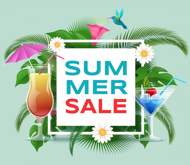Summer cocktails sale banner template. summertime refreshing beverages discount offer