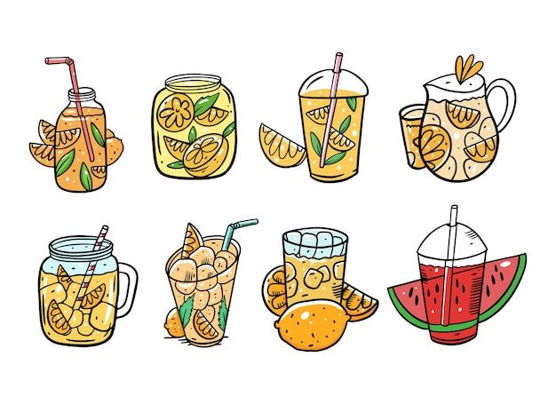 여름 칵테일 세트. 레모네이드 또는 주스. 유기농 제품. 만화 스타일. 삽화. 흰색 배경에 고립. 메뉴 카페와 바를위한 디자인.
