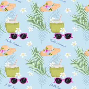 Summer coconut drink on the beach with sunglassed and hat pattern.