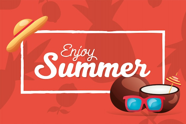 Summer coconuts glasses and hat frame vector design