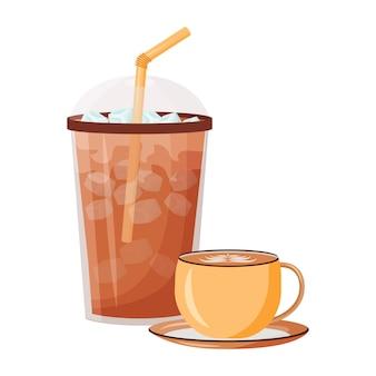 여름 커피 숍 메뉴 만화 그림입니다. 아이스 아메리카노. 세라믹 머그에 카푸치노. 빨대와 플라스틱 컵. 카페인은 평면 색상 개체를 마신다. 흰색 배경에 고립 된 다과 쉐이크