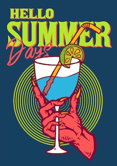 Summer cold drink lemonade hold by hand of a devil