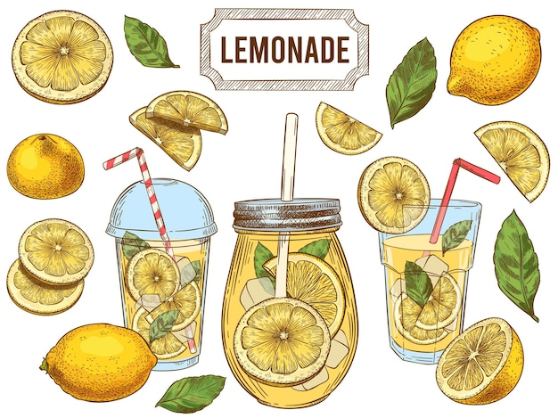 Summer cold drinks, hand drawn yellow lemons slices and leaves. glass of lemonade with ice illustration set.