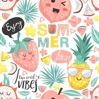 Summer collage. seamless pattern with pineapple, peach, strawberry, dragon fruit characters with kawaii face. flowers, leaves and lettering.