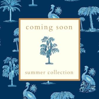 Vettore del modello di annuncio della collezione estiva con sfondo tropicale