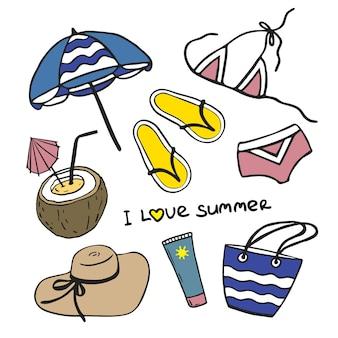 Летняя коллекция векторных иконок пляж