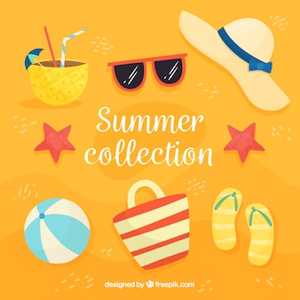 Summer collection with beach elements