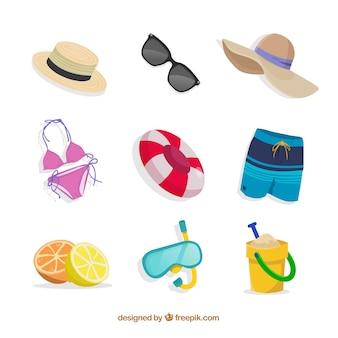 손으로 그린 스타일 요소와 여름 컬렉션