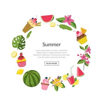 夏色のカクテル、フラミンゴ、ヤシの葉
