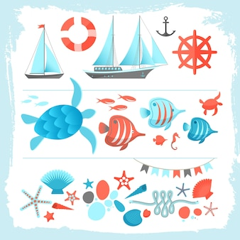 Summer colored illustration set with yacht equipment sailboat anchor rope sea turtle starfish