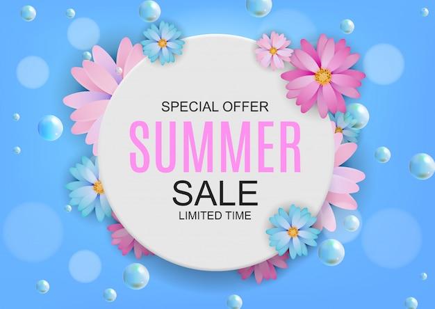 Summer colored sale concept background.  illustration