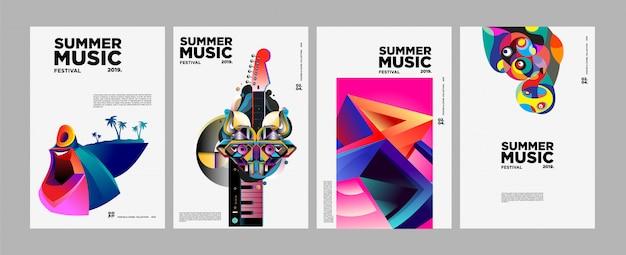 Летний фестиваль красочного искусства и музыки афиша и обложка