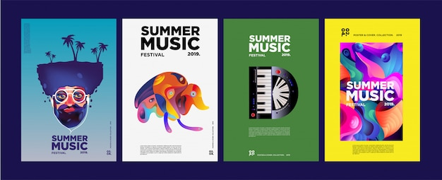 Summer colorful art and music festival poster and cover