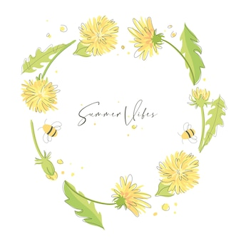 Summer colorful background summer vibes  cute wreath of yellow dandelions
