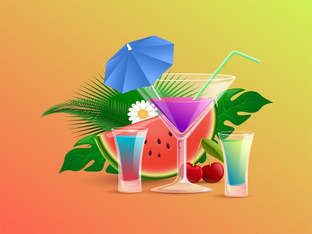 Summer colorful cocktails with straw and cocktail umbrellas vector cartoon