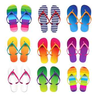 Summer colorful flip flops set white background
