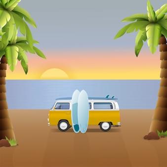 夏のカラフルなイラスト。キャンピングカー、ワゴン、トラック。夏のサーフィン、サーフィン休暇。ヤシの木と美しい海の風景の背景に旅行バン。