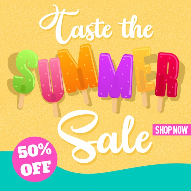 Summer colorful popsicles banner