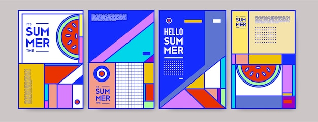 Summer colorful poster template.