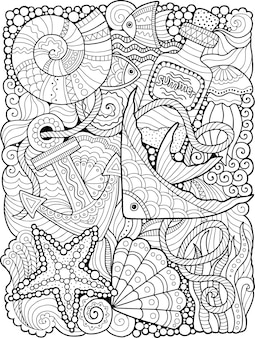 Summer coloring book for adult. fantasy underwater sea life